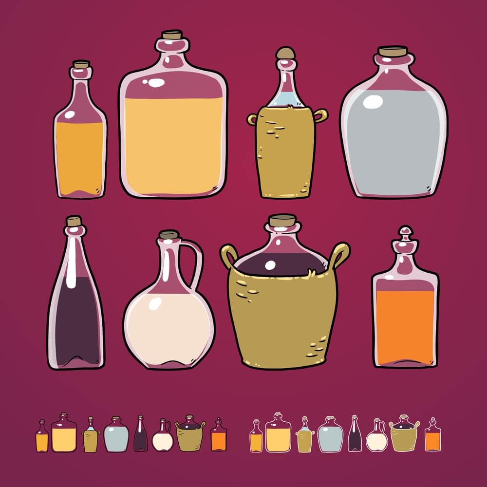 разные бутылки с разными алкогольными напитками